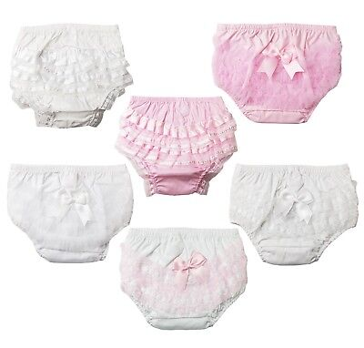 Baby Girls Romany Cotton Frilly Pants Nappy Covering Pants With Organza & Bow FP