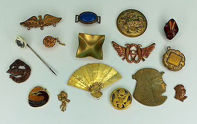 Lot of 16 pieces of Vintage Jewelry Brass Stampings Hat Pin Pendants Jewelry