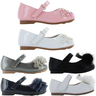 Girls Childrens Buckle My Shoe Wedding Party Bow Flower Flat Patent Shoes Sandal