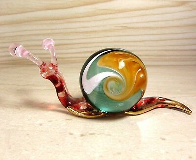 Green SNAIL figurine handmade blown ART GLASS Gild animal 4.5 Inches GIFT
