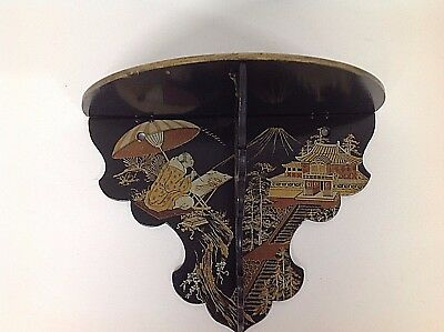 Antique Japanese or Chinoiserie Lacquered Folding Gilded Decorative Wall Shelf
