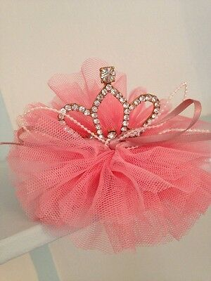 Mini Rhinestone Baby Tiara .Silver Baby Clip On Crown . Tulle Detail. Mixed Colo
