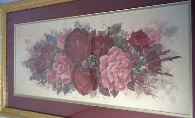 Vintage  Red Roses Pink Print 30.5 X 16 Yard Long Style Framed Country Farmhouse