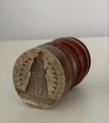 Antique French Swiss Catholic Church Virgin Mary bronze seal wax stamp