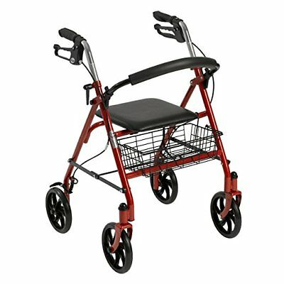 "New Drive Medical Red Rollator Folding Walker Adult 4 Wheels 10257RD 8"" Casters"