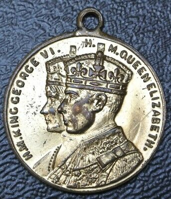 KING GEORGE VI Crowned at Westminster Abbey May 1937 MEDALLION - 25mm Dia.