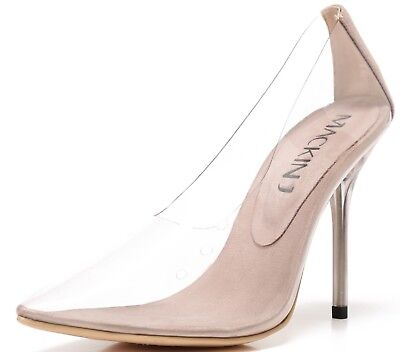 260-1 Transparent Clear Pointed Pointy Toe Slip On Stiletto High Heel Pumps Nude