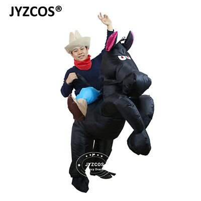 Horse Rider Costume Cowboy Dress Inflatable Blow Up Suit Men Women Party Cosplay