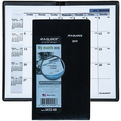 2019 At-A-Glance DayMinder SK53-00 Monthly Pocket Planner 3-5/8 x 6-1/16""