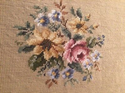 Antique French Handmade Wool Needlepoint Tapestry In Floral Design Never Used