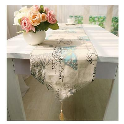 Butterfly Theme Table Runner Tassel Cotton Tablecloth Cover Decor 30x220cm