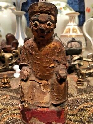#18 c Antique Falk Gilt Painting Wood Ancient Statue Mytological Tang Dynasty