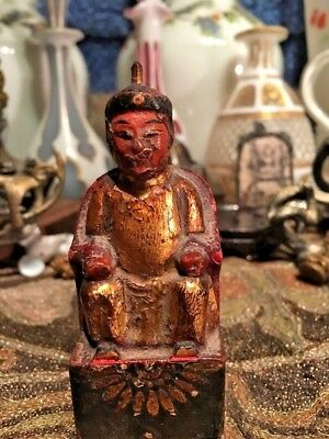 #19c Antique Falk Wood Statue gilt painting statue Chinese King Statue
