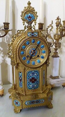 Antique French Ormolu And Champleve Enamel Mantel Clock.