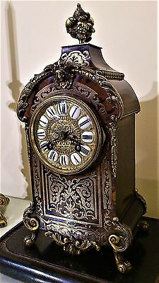 Antique French Black Boulle Tortoise Shell & Inlaid Ormolu Mantel Clock