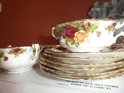ROYAL ALBERT Old Country Roses 3 Soup Bowls / Coupes with Handles ...