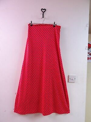 VINTAGE stretchy polyester red polkadot 70s MAXI skirt  waist 30 inches size M