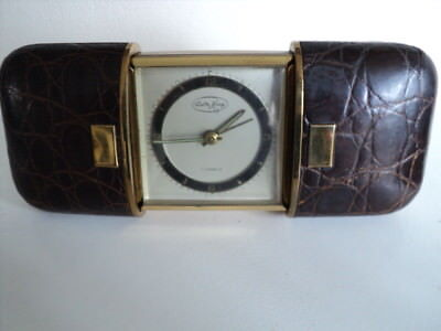 Very Rare Vintage Walter Haan Leather Case Small Travel Alarm Clock 7 Jewels