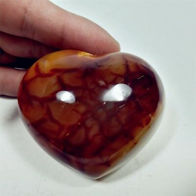 Polished CARNELIAN HEART Palm Stone Healing Reiki Madagascar 62mm-147g-A1990