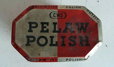 OLD COLLECTIBLE CWS Pelaw Leather Polish Vintage Box Container Tin