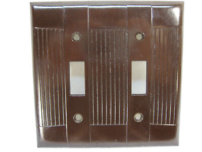 10 New Old Stock Vintage Ribbed Brown Bakelite 2 Gang Switch  Wall Plate Covers