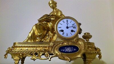 Antique French Ormolu Figural Mantel Clock with Sevres Panel.