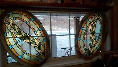 ~ Pair Of Antique Oval Stained Glass Windows