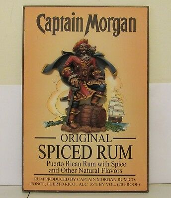 "Captain Morgan Spiced Rum 3D Wood Bar Sign Man Cave Pirate Wall Decor 19"" X 13"""