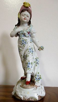 Antique Volkstedt Girl Figurine w/ two tined fork mark