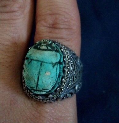 Ancient Egyptian civilization silver ring topped with scarab