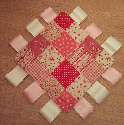 Taggy Blanket - 18cm / Comforter / Pink Patchwork Print / Baby Girls - Gift