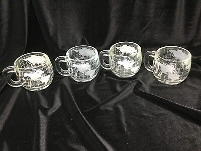 Set of 4 Vintage Nescafe Nestle's World Globe Etched Coffee Tea Mugs Cup