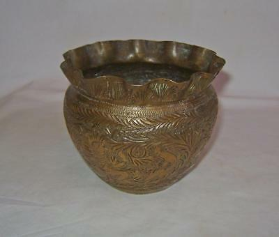 Antique  Brass Planter / Jardiniere:  Engraved with Figures & Birds :  9 cm high