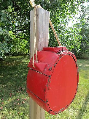 Antique Wooden Canteen Hanging Primitive Red Rustic