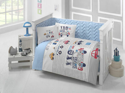 Clasy 100% Cotton Crib Bedding Quilt Set for Baby Boys 6 Pieces Made in Turkey