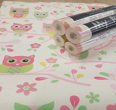 Job Lot 4 Debona Owl Wallpaper Pink 6327 Baby Toddler Kids Children Boys Girls