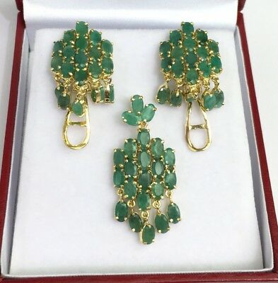 14k Solid Yellow Gold Big Cluster Pendant Earrings Set, Natural Emerald 11.11Gr