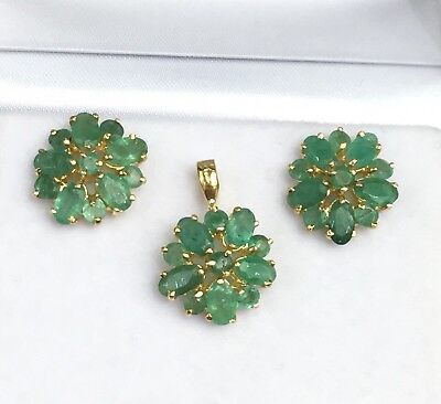 14k Solid Yellow Gold Cluster Pendant Earrings Set, Natural Emerald 4.20 Gr