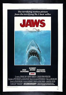 JAWS ✯ CineMasterpieces ORIGINAL MOVIE POSTER SHARK HORROR LINEN BACKED 1975