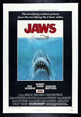 JAWS ✯ CineMasterpieces 1975 ORIGINAL MOVIE POSTER SHARK HORROR LINEN BACKED