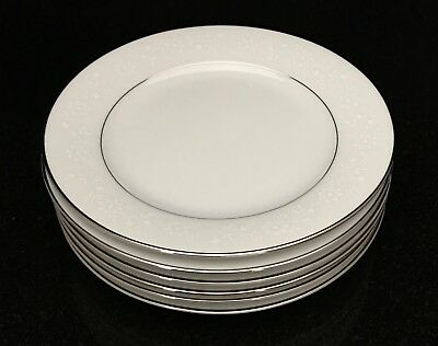 6 Noritake Buckingham 6438 Bread & Butter Plates White Floral Platinum Trim