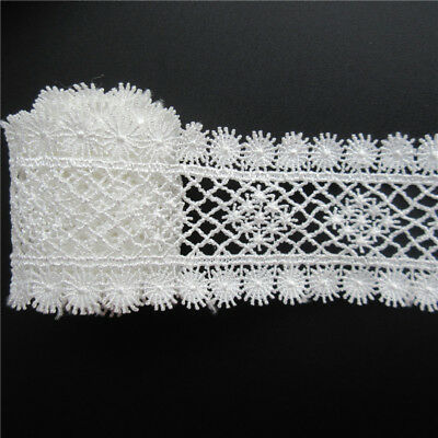 Wholesale 13yards/lot 4cm White Embroidered Lace Edge Trim Ribbon Sewing Craft
