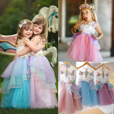 Flowers Kids Girls Unicorn Bridesmaid Pageant Party Formal Chiffon Tutu Dress UK