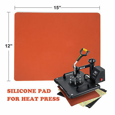 """12""""×15"""" Silicone Pad Flat Heat Press Replacement Heat Resistant Silicone Mat Red"""