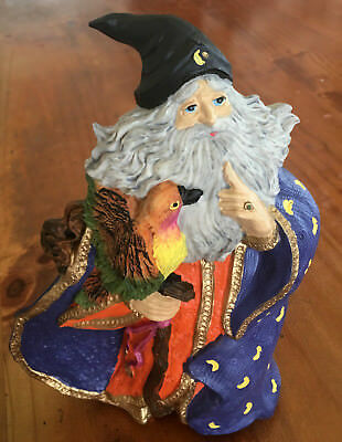 Wizard Merlin Statue Holding A Parrot & Walking Stick Magical Mystical Coloured