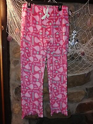 Hersheys Kisses pajama lounge pants size m (8-10) pjs pink fleece soft