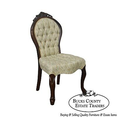 Victorian Style Rose Carved Mahogany Tufted Slipper Chair