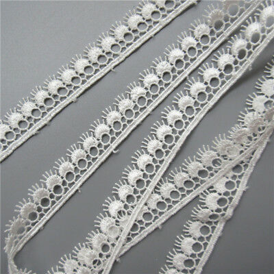 Wholesale 13yards/lot 1.7cm White Embroidered Lace Edge Trim Ribbon Sewing Craft