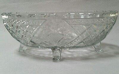 antique OVAL CRYSTAL BOWL footed                                         (#218)