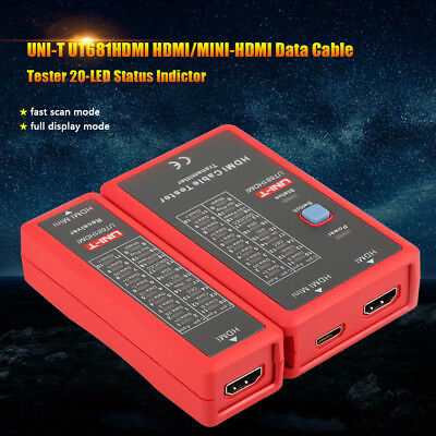UNI-T UT681HDMI HDMI/MINI-HDMI Data Cable Tester 20-LED Status Indictor inm